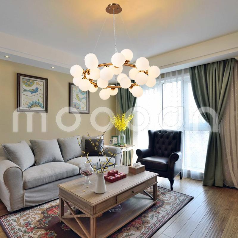 Modern Glass Ball Molecule Circular Pendant Light for Living Room