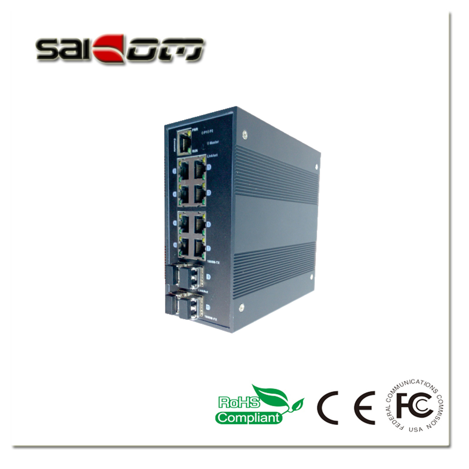 1000Mbps Intelligent/Smart 4GX/8GE Industrial Management Optical Network Switch