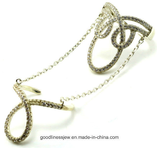 Wholesale China Creative 925 Sterling Silver Ring Two Rings R10044