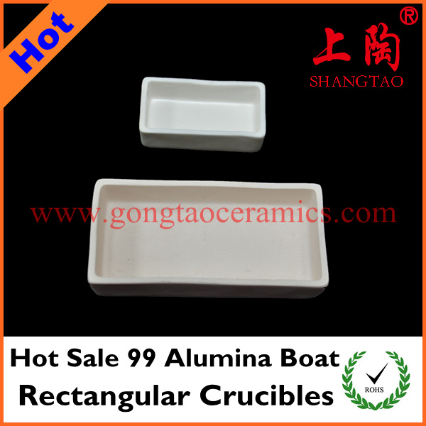 Hot Sale 99 Alumina Boat Rectangular Crucibles