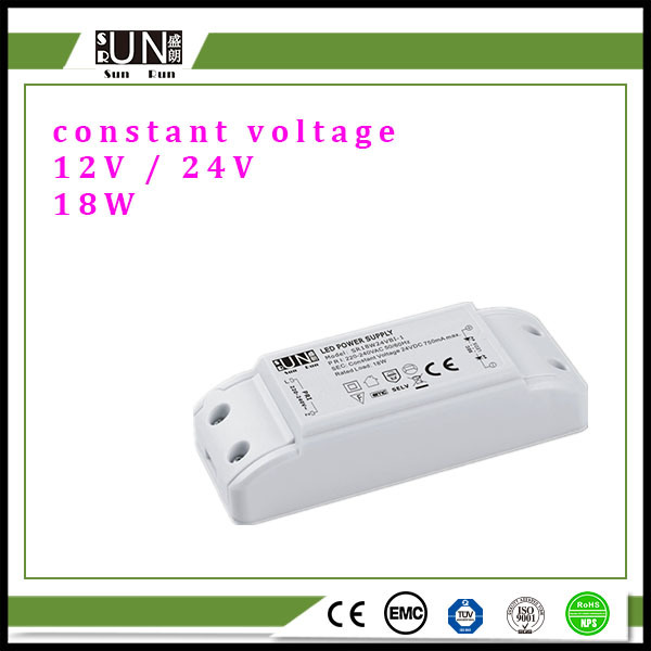 18W High Efficiency Plastic LED Driver, Constant Voltage 12V DC 18W LED Power Supply / 18W LED Transformer, with New Low Price