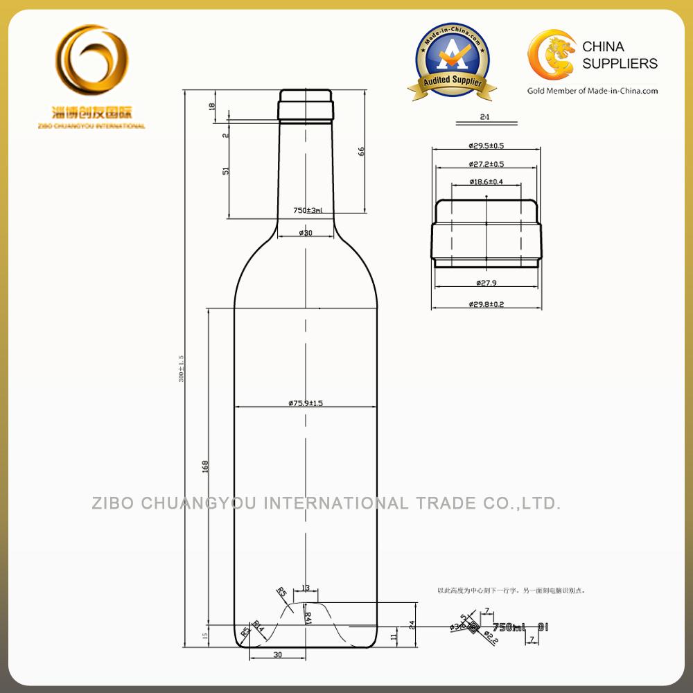 Sample Free 750ml Bordeaux Glass Bottle for Red Wine (038)