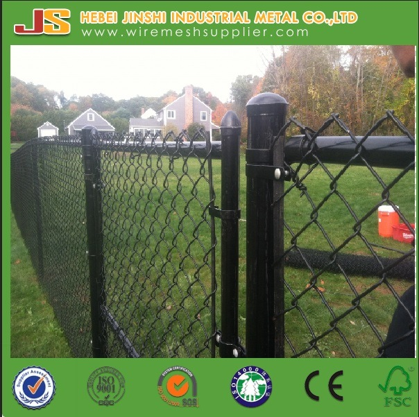 Black PVC Coated Chain Link Fence Gate Use in Garden