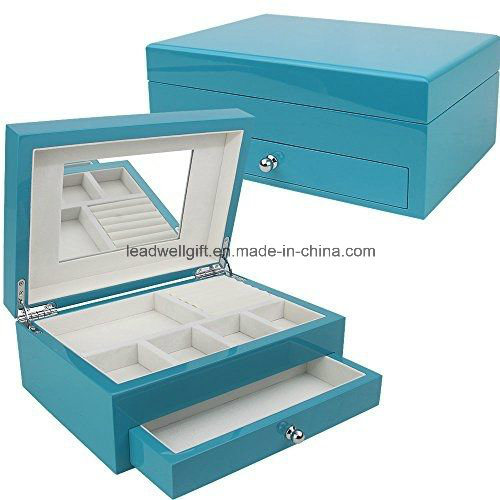 Blue High Gloss Finish Jewelry Box Storage Case
