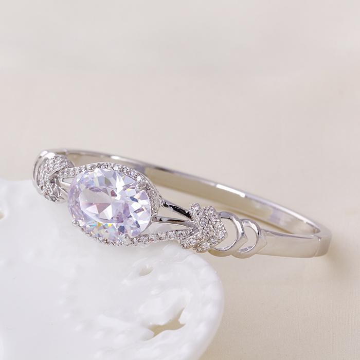 Chinese Wholesale New Xuping Fashion Rhodium Diamond - Plated Bangle