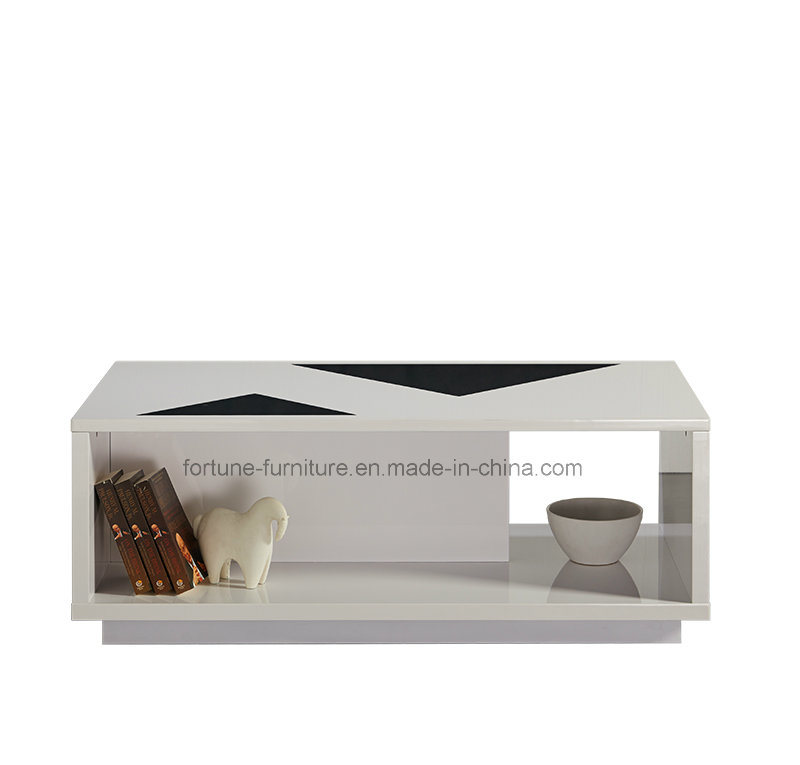 Modern Furniture/Wooden UV High Gloss Coffee Table with Glass Decoration
