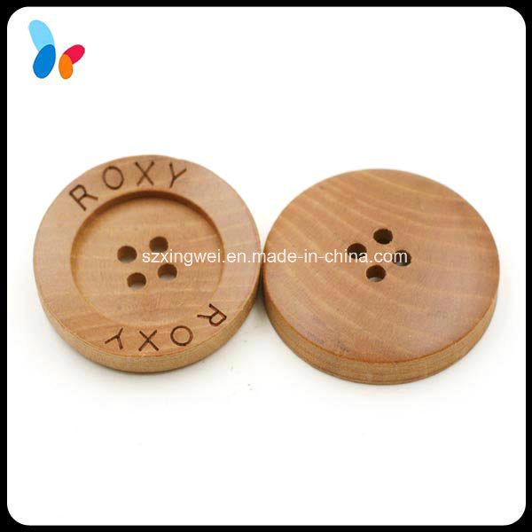 Custom Laser Engraved Logo Nature 4 Holes Wood Sewing Button