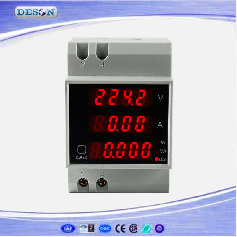 DIN Rail Digital Current and Voltage Meter Ammeter Voltmeter
