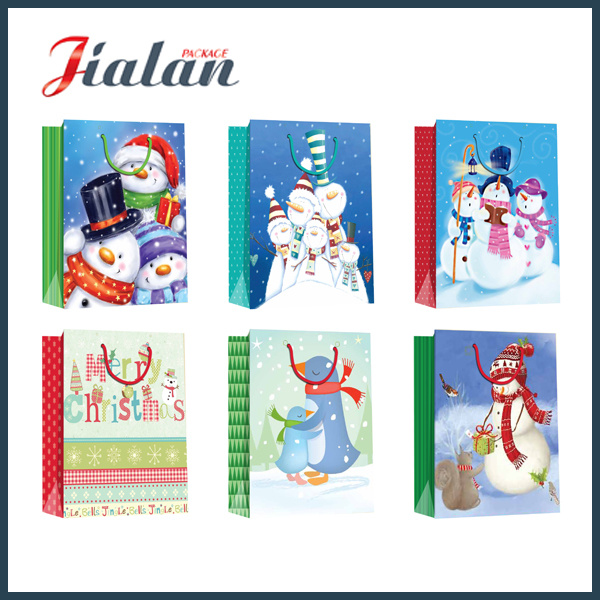 BSCI Supplier Custom Logo Printed Christmas Design Paper Bag