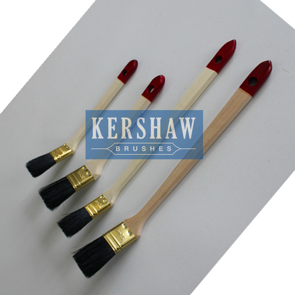 Radiator Brush (paint brush pure natural black bristle with long&short poplar handle, gooden color ferrule)