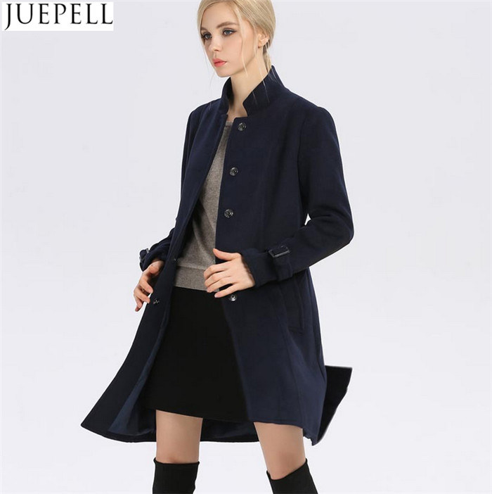 New Women′s Autumn and Winter Wool Coat Women Windbreaker and Long Sections Slim Woolen Collar Women Coat