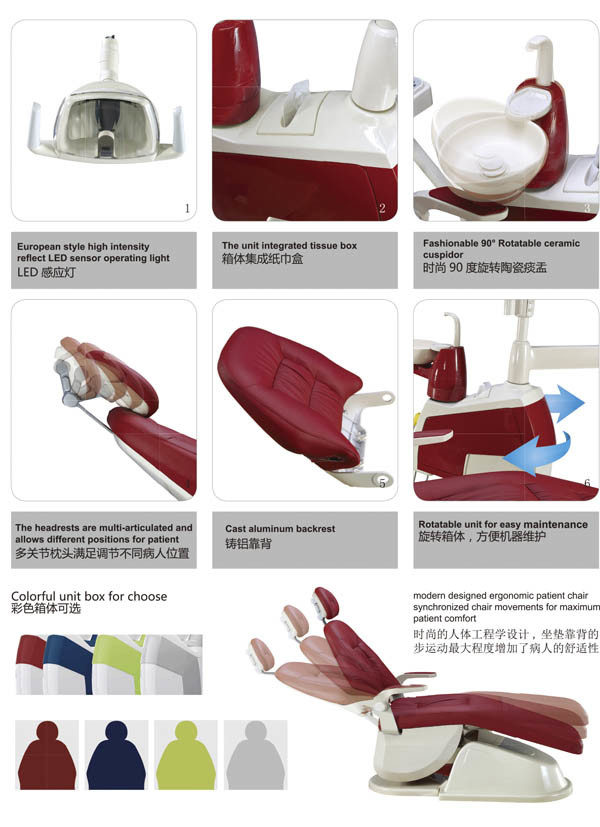 New Design LED Sensor Lamp Ergonomic Patient Colorful Dental Chair