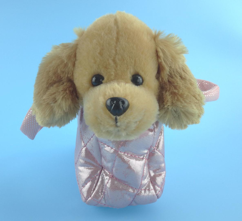 Cute Plush Dog with Portable Dog Bag Plush Toy