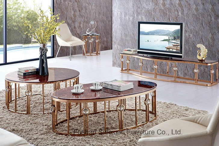 Modern Living Room Luxury Oval Marble Golden Stainless Steel Tea Coffee Table