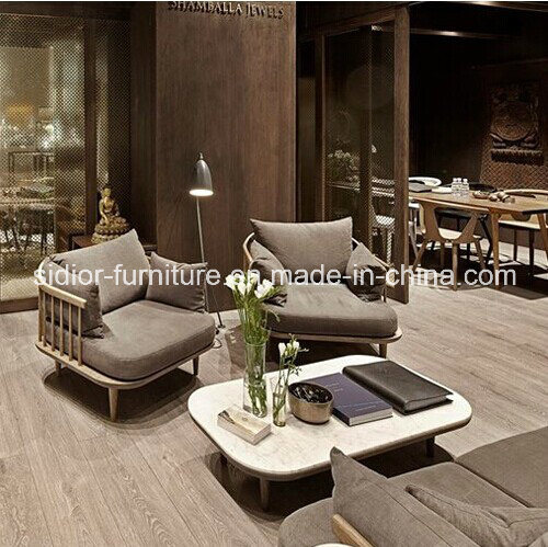 (SD-6005-1) Modern Hotel Restaurant Living Room Furniture Wooden Fabric Sofa