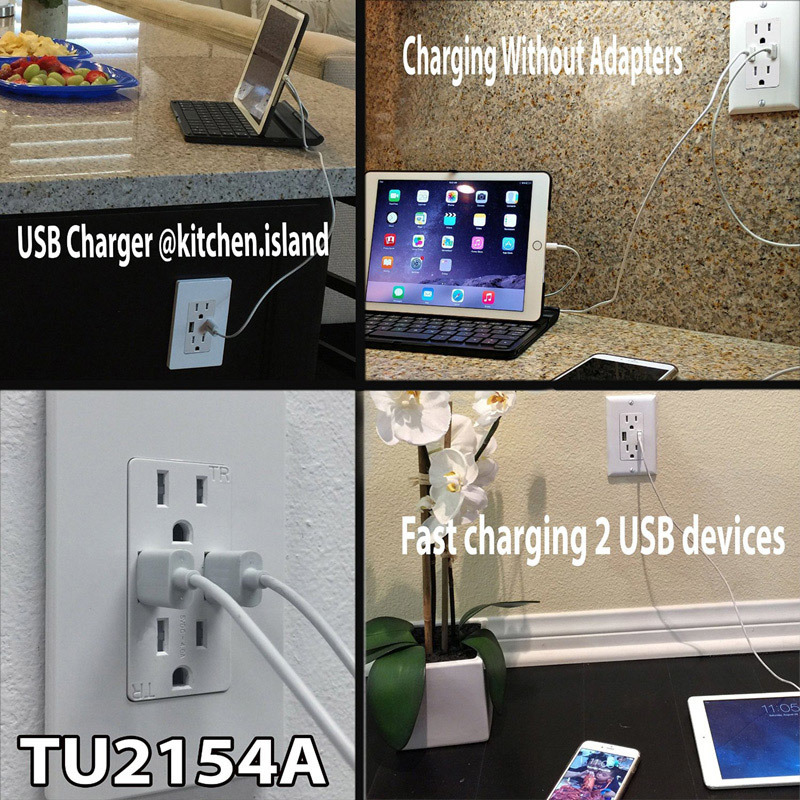 4A High-Speed Dual USB Charger Outlet and 2 Wall Plates