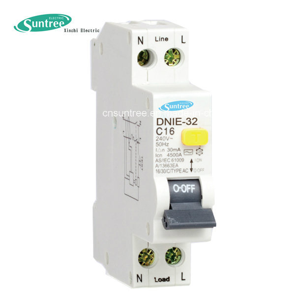 1 Pole Electrical RCBO 4.5ka 30mA