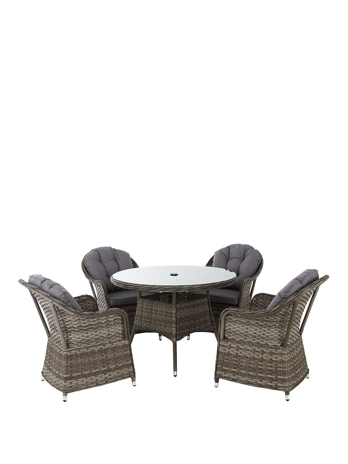 Well Furnir T-014 Grey Color Stylish Chair & Round Tables Durable 5 Piece Rattan Dining Set
