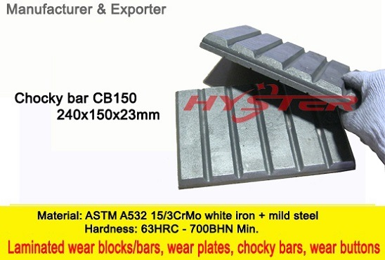 Professional Manufacturer of White Iron Wear Blocks CB150 Chocky Blocks Chocky Bars 63HRC