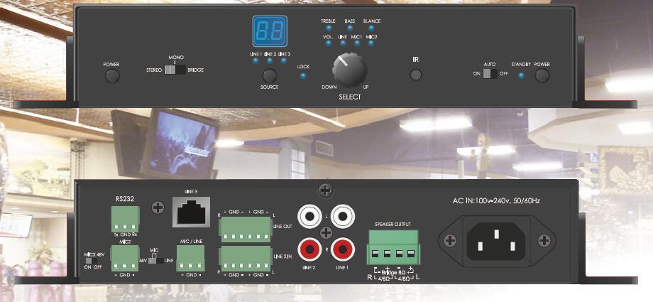 50W Mini Digital Amplifier with Mic Mixer/EQ (AMP-D50MC)