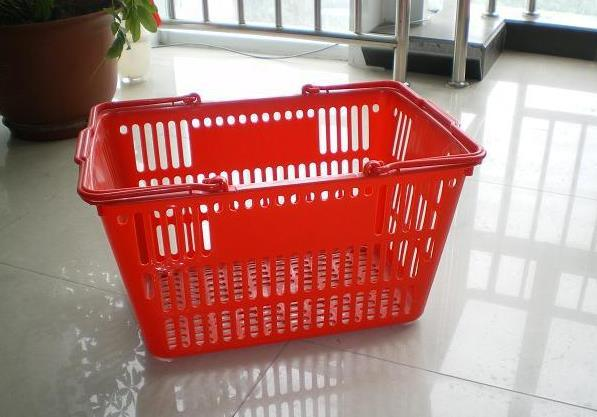 Plastic Supermarket Shopping Basket with Wheels