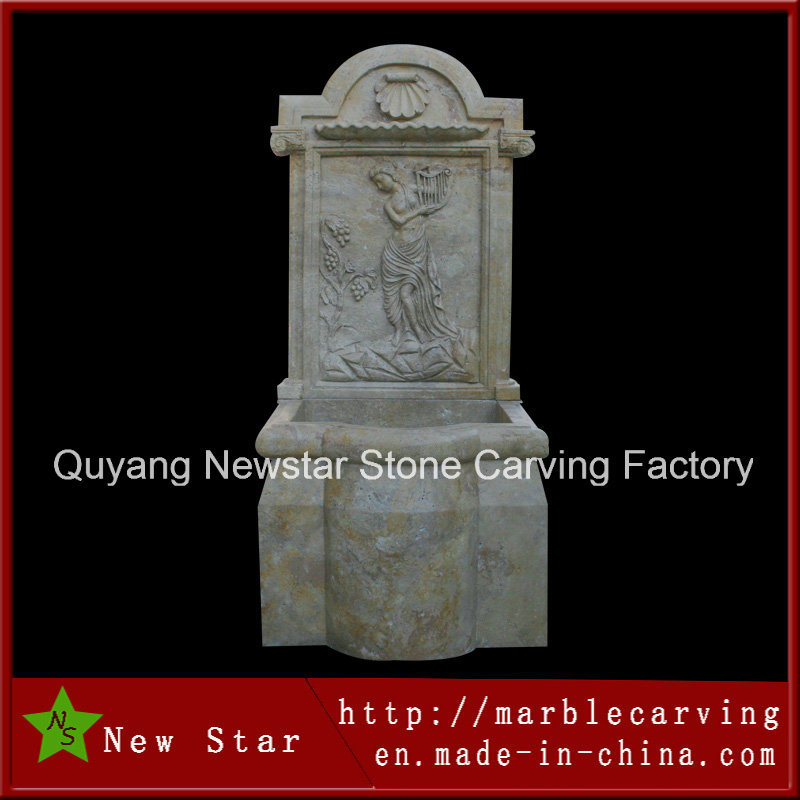 Landscape Wall Marble Water Fountain Stone Carving