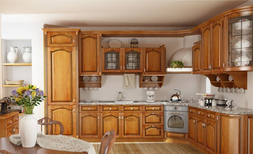 China Best Price Customized Natuaral Solid Wooden Kitchen Cabinet China Solid Wooden Kitchen