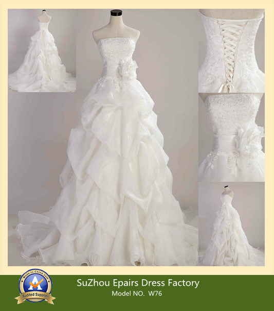 Strapless lace up back hand pleated wedding dress bridal gown w 76