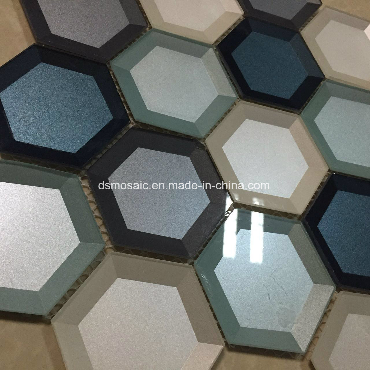 Newesf Colorful Edged Hexagon Glass Mosaic Tile