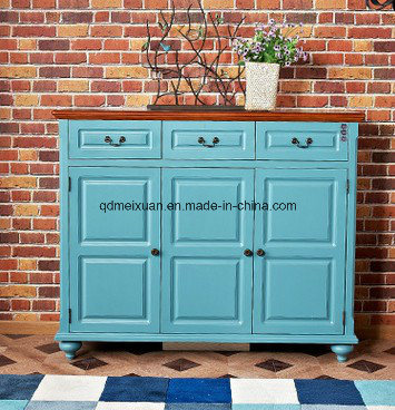Classical Mediterranean Blue European-Style Wooden Shoe Ark American Country Porch Ark Wood Porch Shoe Ark (M-X3323)