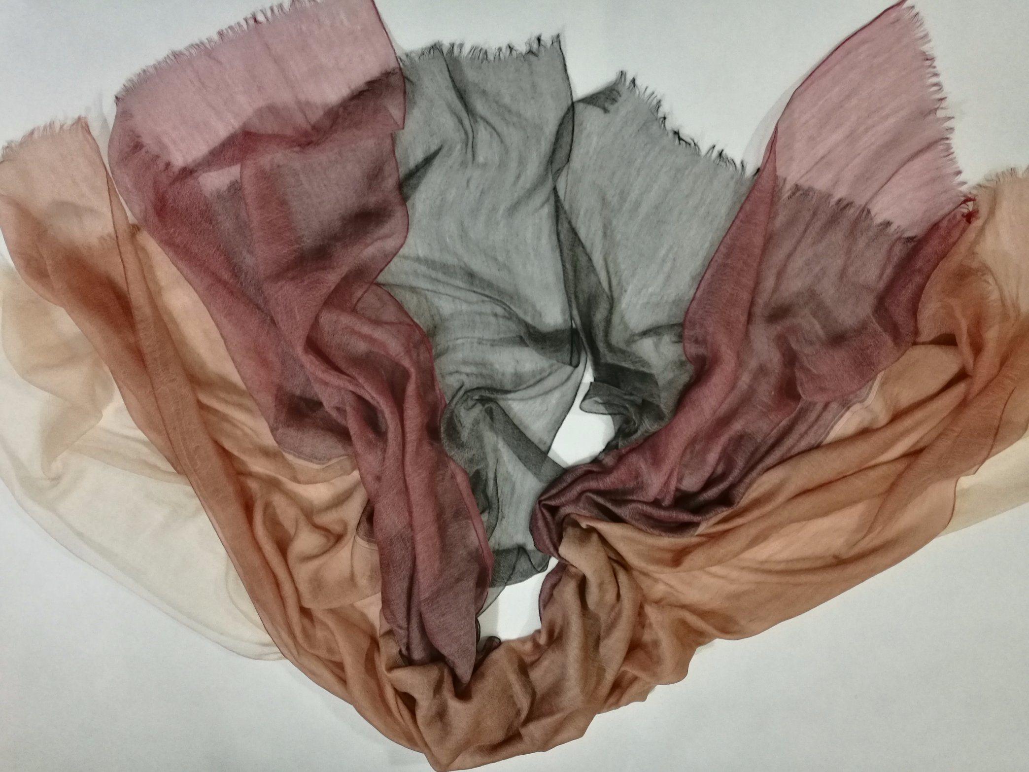 Chiffon Cashmere Wool Abcd Layers Shawl