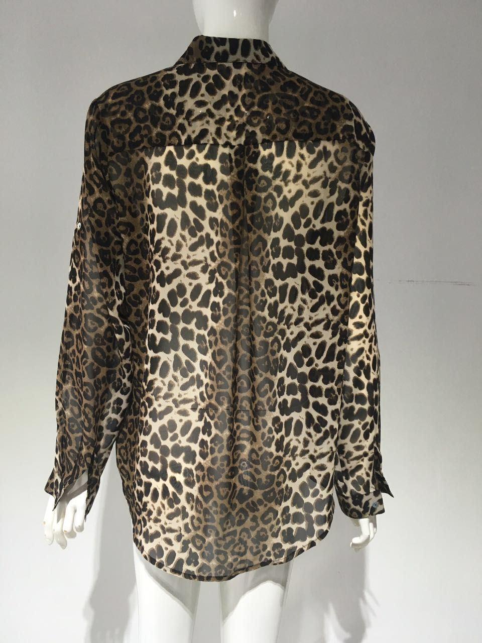 2017 fashion Leopard Print Blouse, Snake Print Blouse