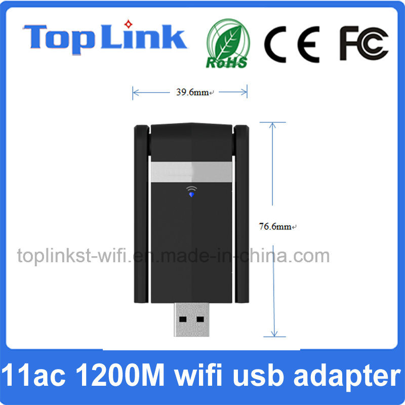 Top-5D11 802.11AC 1200Mbps High Speed USB 3.0 Wireless Dongle WiFi Adapter with External Antenna