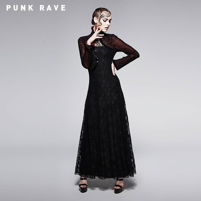 2015 Fashion Gothic Dress in Dark Red with Cappa (Q-243)