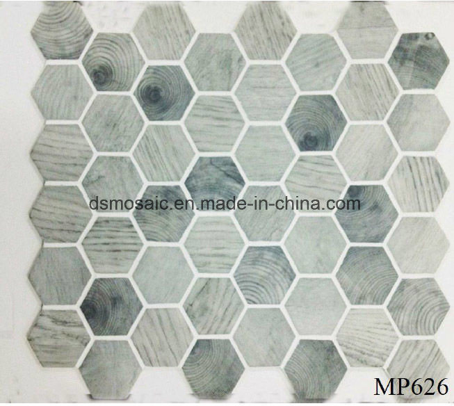 Newest Technology Full Body Wooden Hexagon Glass Mosaic