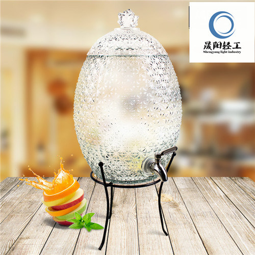 Large Pineapple Glass Beverage Jar/Water Jar with Lid and Tap Factory Direct Sale