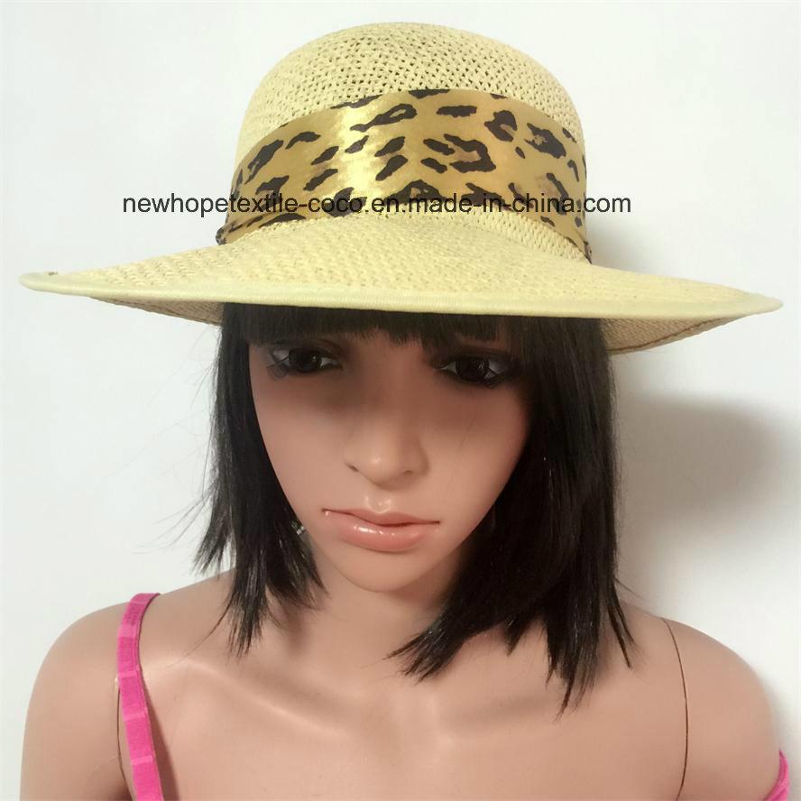 100% Straw Hat, Fashion Visor Style with Chiffon Ribbon Decoration