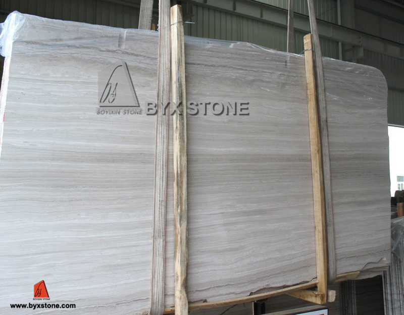 Wooden Vein White Marble Slab