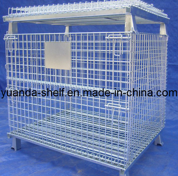 Metal Supermarket Foldable Tools Storage Galvanizing Wire Mesh Cage