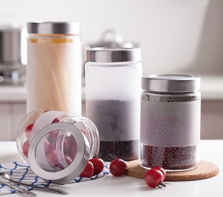 4sets Frost 1100ml Glass Jar Storage Glass Bottle Kitchenware