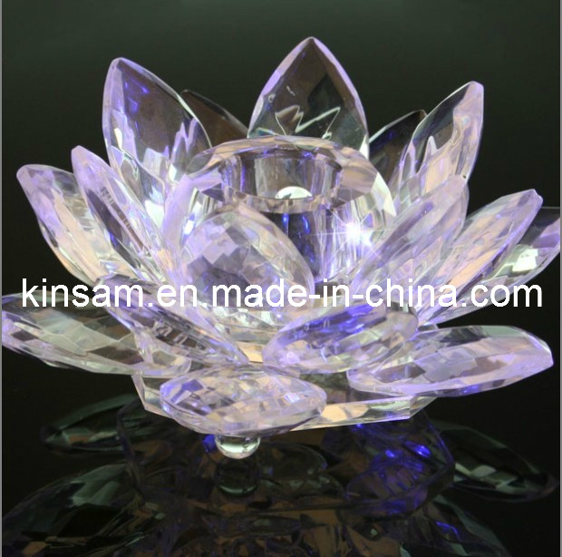 Crystal Lotus Flower Candle Holder for Wedding Favors (KS27017)