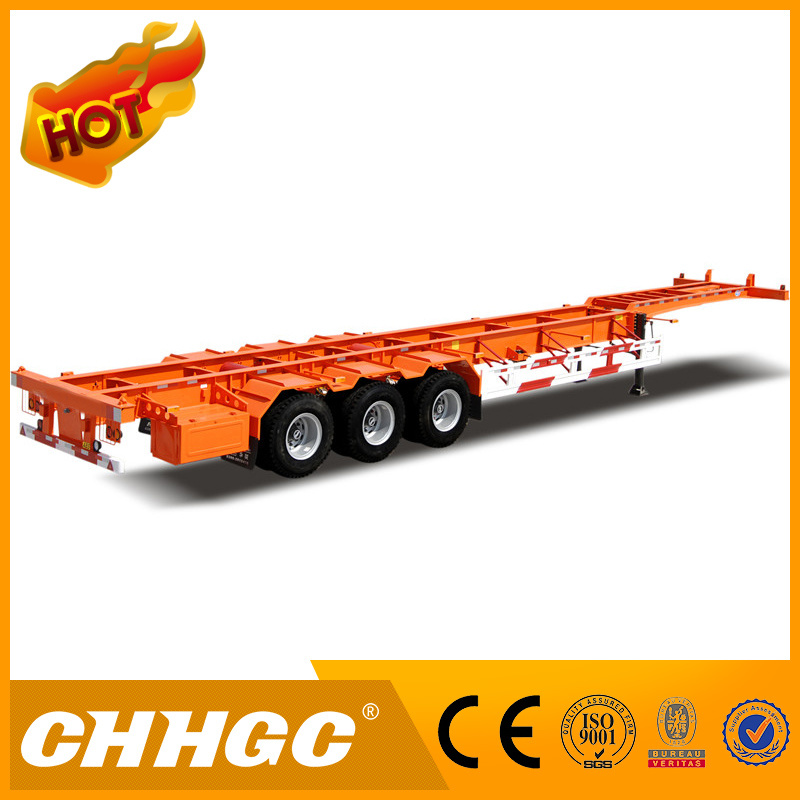 3axle Skeleton Container Semi-Trailer with Floor