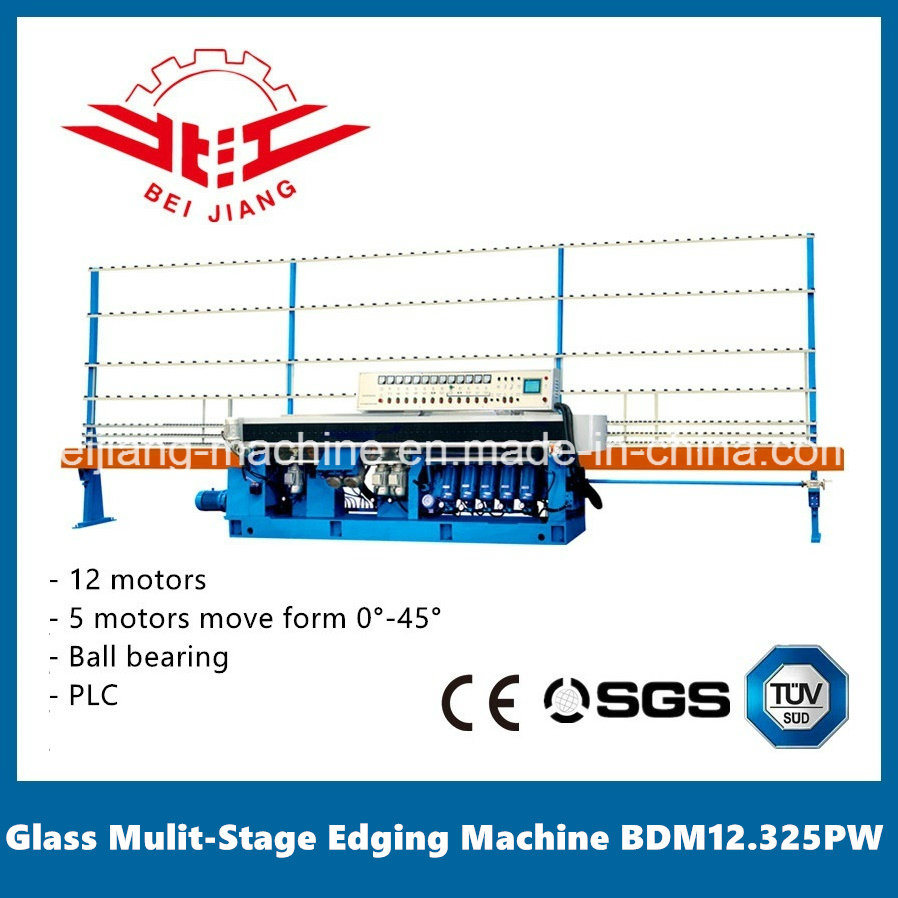 Glass Multi Stage Edging Machine 12 Motor 0-45 Degrees PLC Control (BDM12.325PW)