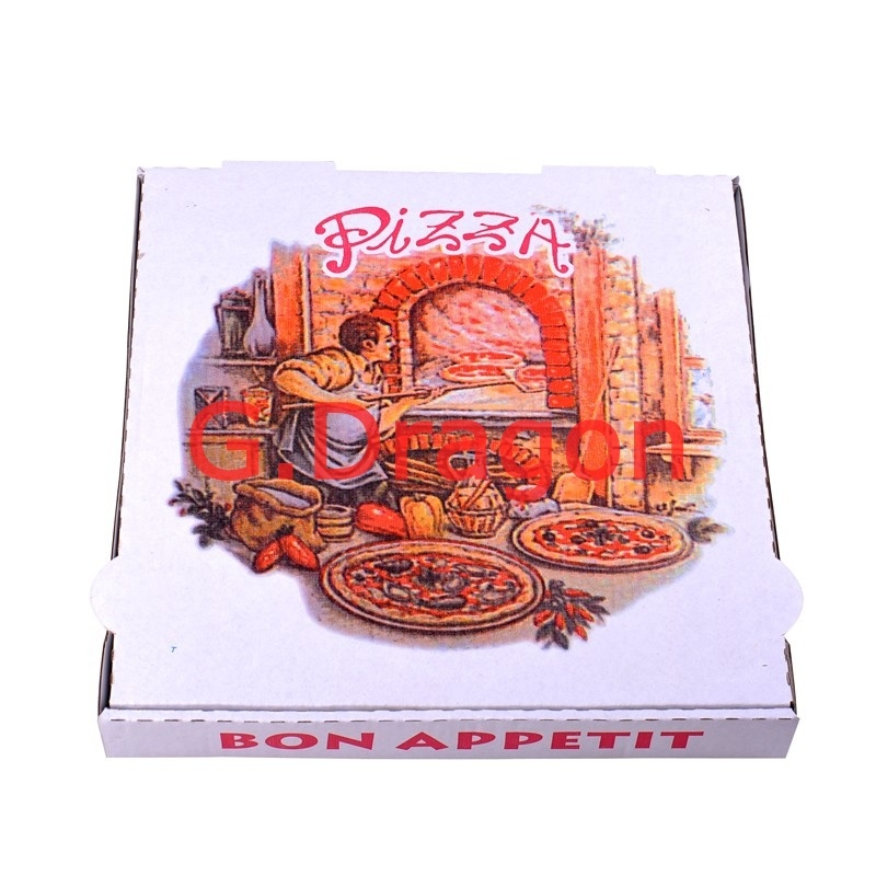 White Exterior and Natural/Kraft Interior Pizza Box (PIZZ-007)