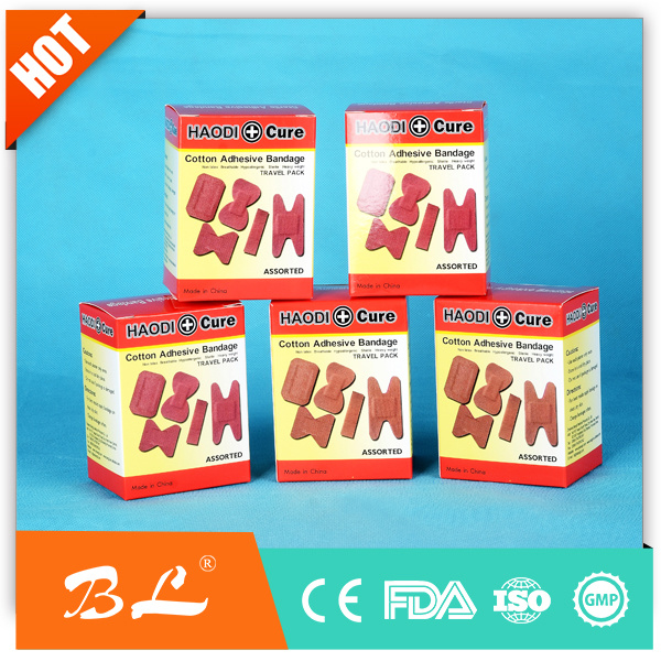 Red Cotton Wound Plaster Band Aid Fabric Bandage with FDA Approved
