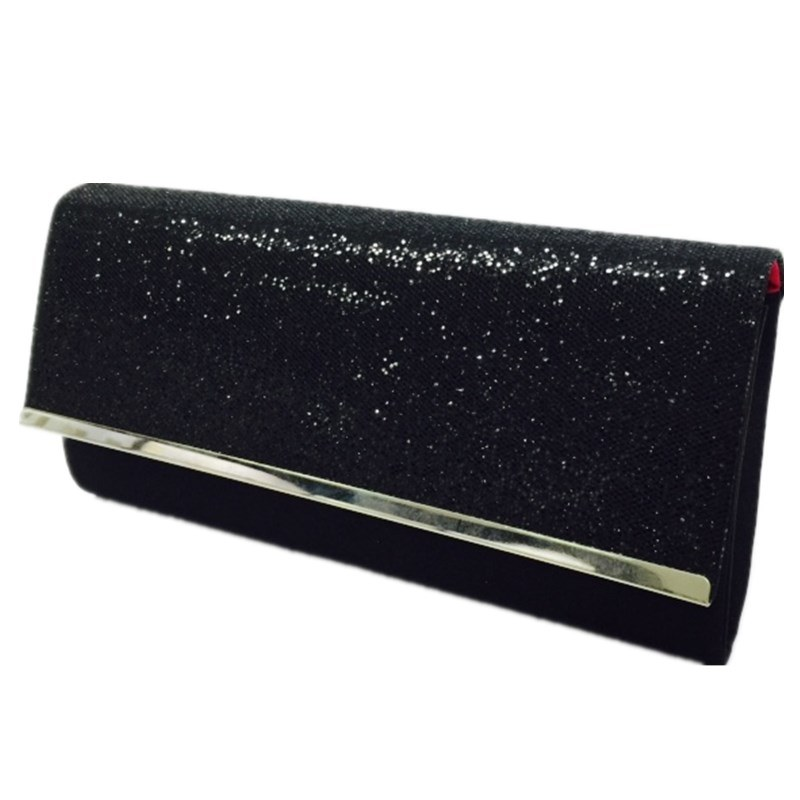 Black clutch Special Design Handbag Woven Mixed Crystal Eveningbag