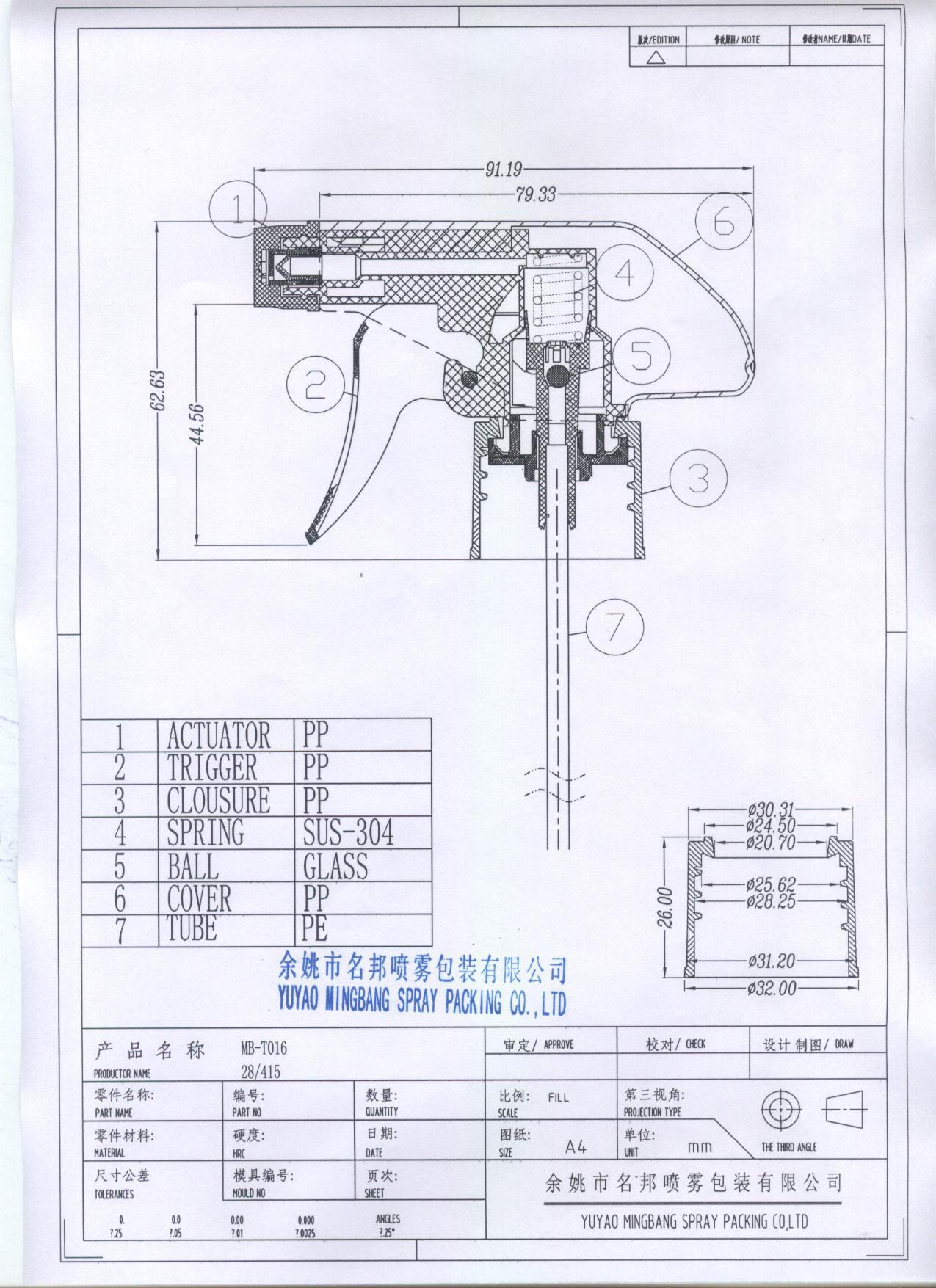 PP Plastic 28/415 Sprayer Trigger