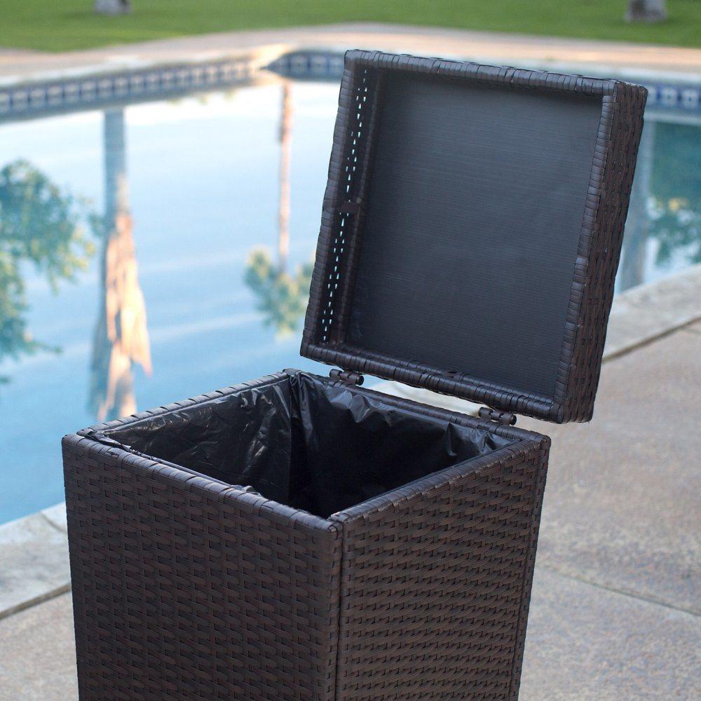 Well Furnir T-032 Wicker Outdoor Trash Can