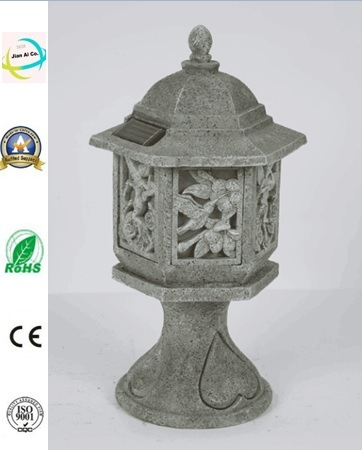 Polyresin Antique Palace Lantern with Solar Lighting Polyresin Outdoor Decoration