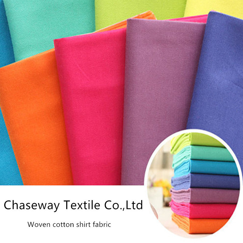 Woven Colorful Solid Cotton Fabric Twill Fabric